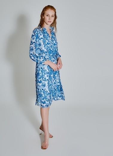 People By Fabrika Desenli Gömlek Elbise Mavi